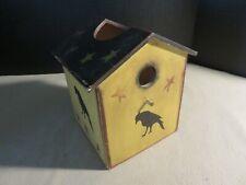 Primitive Wood Handmade Black Crow & Star Birdhouse Tissue Box Holder Cover
