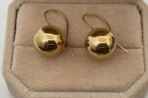 14K YELLOW GOLD CLOSE HOOK DANGLE SPHERE BALL EARRINGS
