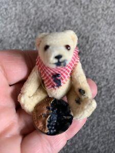 "Artist Mini Tiny Jtd Bear Odette Conley 2"" Eating Blueberry Pie Tiggy Winkle !"
