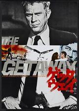 GETAWAY Japanese advance B2 movie poster STEVE MCQUEEN PECKINPAH MINT RARE