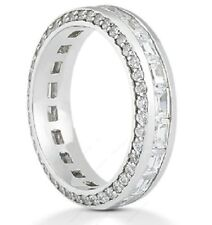 Round & Baguette Diamond Ring 14k White Gold Eternity Band Size 6, F Vs 2.66 ct