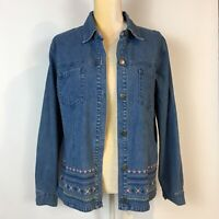 Denim & Co Womens M Jean Jacket Embroidered Blue Floral Button Up Cotton