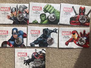 1oz Silver Marvel Superhero Coin Set In Card