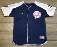 Nike Boys Size Small New York Yankees Derek Jeter Blue Gray Stitched Jersey