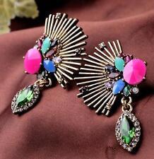 Betsey Johnson Jewelry rhinestone sector Colorful crystal earrings fashion retro