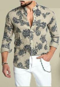 Baroque Summer Shirt Style Floral Print  Vintage Fit Casual Shirt Gold Men