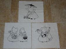 3 Vintage Holly Hobbie Embroidery Design Squares