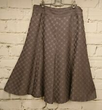 Liz Jordan Skirt Size 14 A-Line Gored Brown Taupe Lined Geometric Circles Career