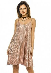 NEW WOMENS LADIES CRINKLE FABRIC LONG CAMI DRESS SWING TOP8-14