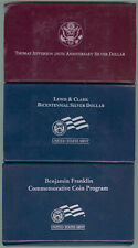 Lot Of 3 Commemorative Proof Silver Dollars -Sleeves, Cases & C.O.A.'S