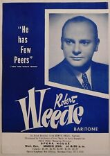 Robert Weede vintage Handbill Sf Opera House March 25 flyer baritone classical