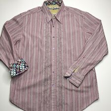 Robert Graham Men's Classic Fit Red Stripe L/S Button Down Contrast Cuffs XL