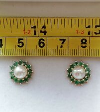 9ct Gold Pearl And Emerald Earrings