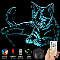 3D Cat Model Illusion 7 Color Change Night Light LED Desk Table USB Lamp Gift