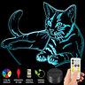3D Cat Model Illusion 7 Color Change Night Light LED Desk Table USB Lamp