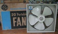 older GE 3-speed 20-inch box floor window fan, powerful 5-element blade, in box