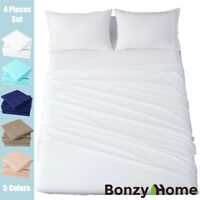 """4 Pieces Twin Bed Sheets Set Microfiber Wrinkle Fade Resistant 14"""" Deep Pocket"""