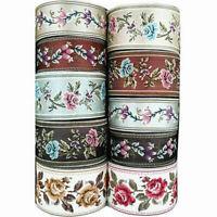 Vintage Floral Silk Crochet Fringe Embroidered Jacquard Ribbon Trim Braid Crafts