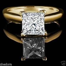 2.80 CT Princess Cut Engagement Ring 14k Yellow Gold Bridal Jewelry Solitaire