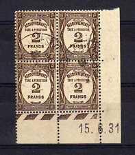 FRANCE Taxe n° 62 oblitéré - Bloc de 4 Coin Daté