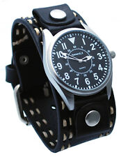 Nemesis DSTH095K Men's Easy Reader Dial Black Wide Leather Cuff Band Watch