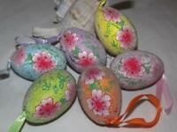 6 Easter Egg Ornaments Beaded Floral Easter Eggs
