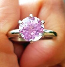 1.7ct Natural VS Pink Sapphire Solitaire 14K Solid White Gold Ring Diamond Alter