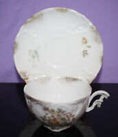 Vintage China Footed Demitasse Cup & Saucer ~ Floral w/ Gold Spray  Carl Tielsch