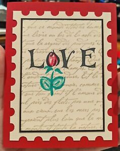 Love Postage Stamp Greeting Handmade Card, Valentine, anniversary, rose, wedding