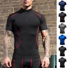 Men's Short Sleeve Mock Neck Workout Compression Training Running Gym T-shirt