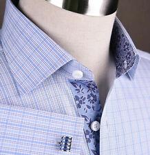 Blue Formal Business Dress Shirt Mens Hawaian Hibiscus Designer Luxury Fashion