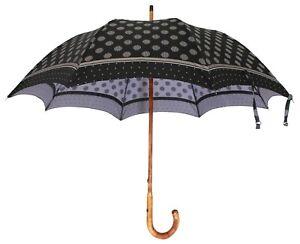 DOLCE & GABBANA Umbrella Black Polka Dots Dome Shape Hook Handle 90cm RRP $1100