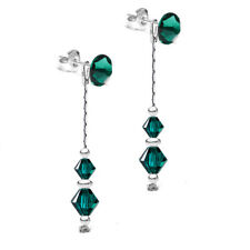 925 Sterling Silver Dangle Earrings Long *2 in 1* EMERALD Swarovski® Crystals