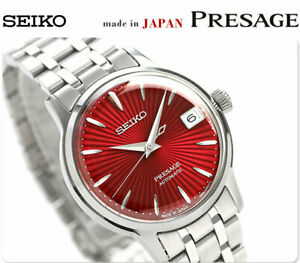 New Seiko Presage Automatic Lady size Watch Red Dial SRP853J1 34mm Cocktail