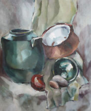 Vintage oil painting still life with pots