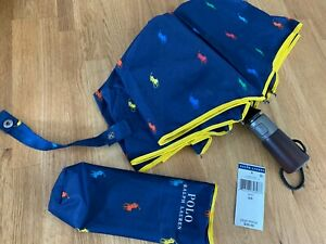 NEW Ralph Lauren Polo Player Print Compact Umbrella & Pouch Navy Multi