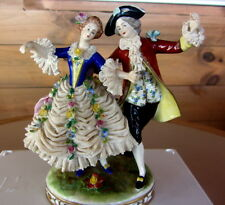 "EXQUISITE ANTIQUE AELTESTE VOLKSTEDT DRESDEN ""DANCING COUPLE"" LACE FIGURINE"