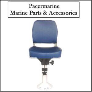 Classic Marine Folding Helm Seat Blue & Adjustable Pedestal 355-500mm