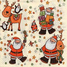 4 Motivservietten Servietten Napkins Weihnachten Nikolaus & Rentier (965)