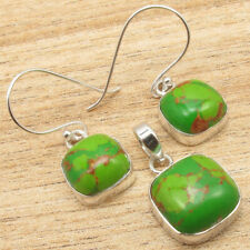 925 Silver Plated Matching Earrings Pendant ART Set, GREEN COPPER TURQUOISE Gems