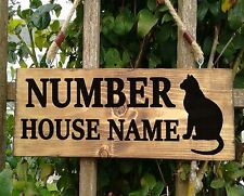 Cat House Name Sign Plaque Personalised Wooden - Solid wood Porch Conservatory
