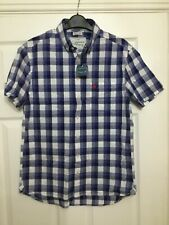 Joules Para Hombre Wilson Classic Fit Camisa Manga Corta en moña azul Talla S