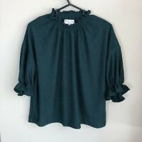 Madewell Texture and Thread Women's Size M Emerald Green Clipdot Ruffle Top