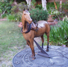 ANTIQUE CARVED WOOD HORSE WITH RIGGING COLLAR HARNESS
