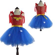 Girls Fancy Dress Super Hero Wonder Woman Costume Party Outfit Cosplay Book Week