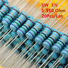 20Pcs 1W 1 Watt Metal Film Resistor ±1% 56 120 150 180 430 470 680 1-910 Ω Ohm