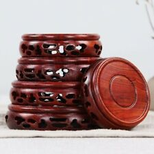 Round Annatto Display Stand Wood Carving Hollow Pedestal Flower Pot Base Crafts