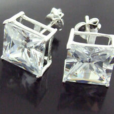 Sterling Silver Diamond Simulated Design Stud Earrings Genuine Real 925 Solid
