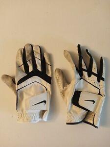 Nike Junior L Black White Golf Glove Synthetic Cabretta Leather Nylon Preowned