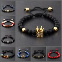 8mm Natural Stone Beads CZ Crown Owl Multi-Color Men Women Adjustable Bracelets